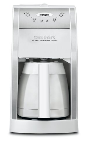 Cuisinart DGB-600BCW Grind-and-Brew Thermal 10-Cup Automatic Coffeemaker, White and Brushed ...