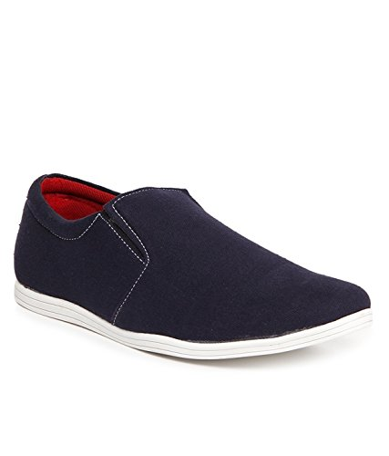 ZAPATOZ Blue Canvas Slip On Loafers
