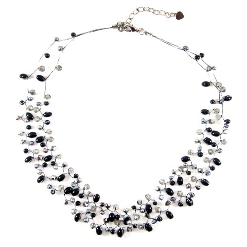 MGD, Genuine Black Cultured Fresh Water Pearl with Crystal 2-Strand Silk Tread Necklace, 'Together'
