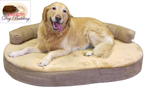 Dog Bed: Large Orthopedic Memory Foam Joint Relief Bolster Dog Bed - Toffee