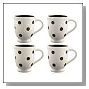 Terramoto Ceramic Polka Dots Footed Mugs, Set of 4