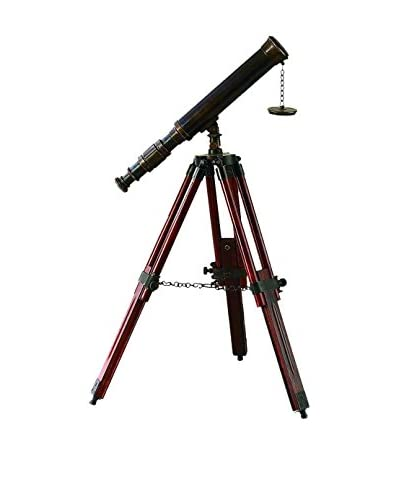 Deco 79 Brass and Wood Telescope