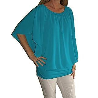 Chiffon-Bluse Kurzarm, Rundhals-Ausschnitt, Uni-Größe - passt von Gr. 36 bis 44 , türkis
