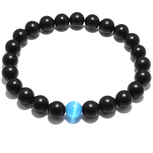 Men Bracelet-Natural Genuine Matt Black Agate Gem Bead, maxin 8MM Healing Power Crystal elastic Bracelet