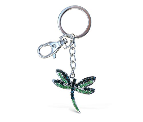 Puzzled Green Dragonfly Sparkling Charm Keychain