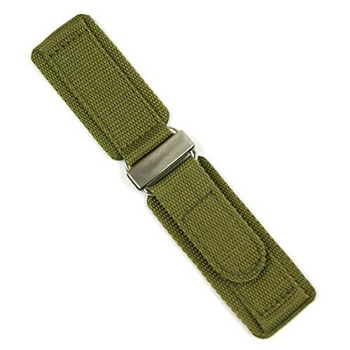 24mm Drab Olive Double Layer Nylon Velcro Watch Band for Bell & Ross BR01 BR03 with Stainless Steel Buckle MEDIUM