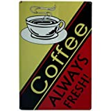 Vintage Style Hanging Metal Retro Sign 20Cm X 30Cm - Fresh Coffeeby Carousel Home