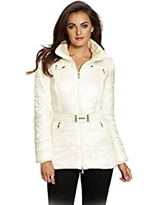 GUESS by Marciano Women's Loren Short Puffer Jacket, MACADAMIA (SMALL)