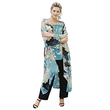 preview of discount collection how to buy Ulla Popken Plus Size 3-Piece Duster and Pants Set ...