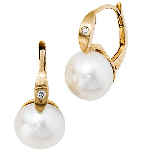 Pendant Earrings Earrings Earrings with Pearls & Frosted Diamonds 585 Gold Earrings