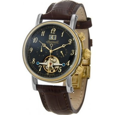 Ingersoll Gents Black Dial Brown Leather Strap Watch