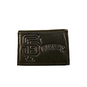 MLB Officially Licensed Genuine Leather Tri-Fold Wallet -Black by Rico