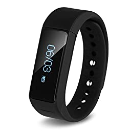 Smart Bracelet, Ronkoen I5+ Smart Bluetooth Sports Bracelet Wireless Fitness Pedometer Tracker Activity Tracker with Monitoring Calories Track Steps Counter Sleep for Sports Fitness-Black