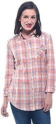 Lyla Women's Regular Fit Shirt (LWSA848_L, Orange, L)