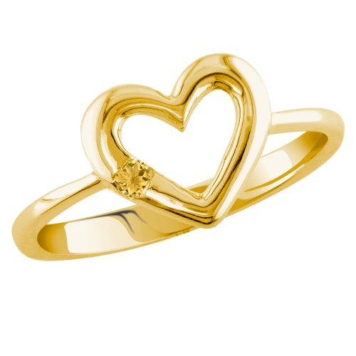14k Yellow Gold Citrine Heart Ring, Size 7