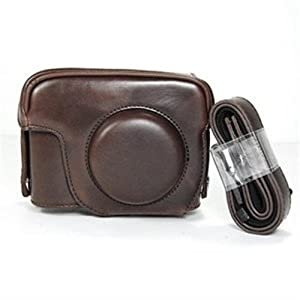 Cosmos Brown Leather Case Cover Bag for Canon Powershot G12 G-12 Camera + Cosmos Cable Tie