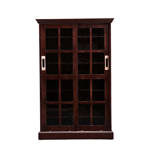 Sliding Door Media Cabinet Espresso Storage Tempered Glass Doors (Tempered Glass Cabinet Doors compare prices)