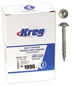Kreg SML-HL125-1000 1-1/4-Inch Pocket Hole Screws, #7 Hi-Lo Washer Head, 1000-Pack at Sears.com