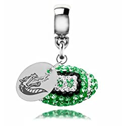 Alabama Birmingham Blazers Sterling Silver Crystal Football Dangle Charm Jewelry
