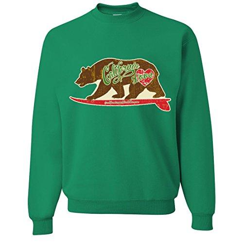 California Love Vintage Surfboard Crewneck Sweatshirt By Dsc - Kelly Green Large front-498820
