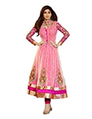 Karma Trends Women's Pink Soft Net Semi Stitched Anarkali Suit.