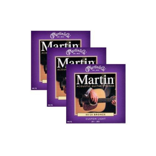 3 x JEUX DE CORDE ACOUSTIQUE MARTIN CUSTOM LIGHT 11-52