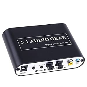 Digital to Analog Audio Decoder Converter - Transfer the DTS/AC-3 Digital Signal and Stereo(R/L) Audio Signal into 5.1 Analog Output