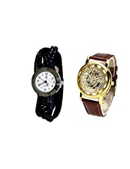 COSMIC COUPLE WATCH- BLACK ANALOG DESIGNER WATCH FOR WOMEN AND BROWN SKELETON WATCH FOR MEN