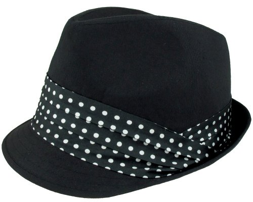 Capelli New York Twill Molded Crown Trilby With Polka Dot Printed Satin Band