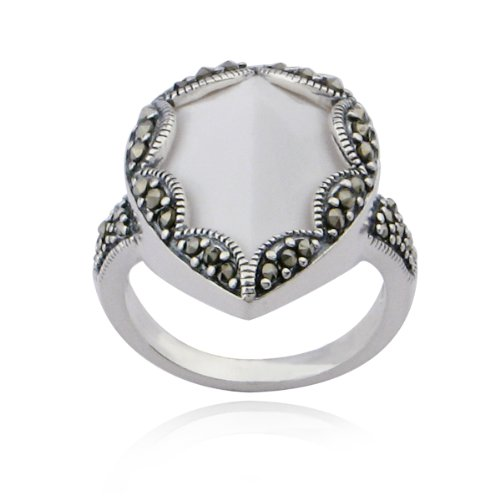 Sterling Silver Marcasite and White Agate Teardrop Ring, Size 5