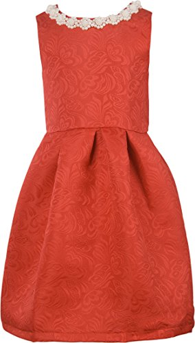 Ipuang Big Girls' Lovely Pattern Dresses for Special Occasions 8 Red