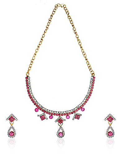 Zaveri Pearls Flaming Necklace Set for Women-ZPFK3079