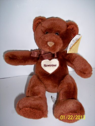 November Birthday Bear Plush 8 Inches