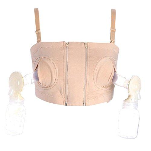 Tenworld Hands-free Breast Pump Nursing Bras Maternity Breastfeeding Bra Tops (L, Beige)