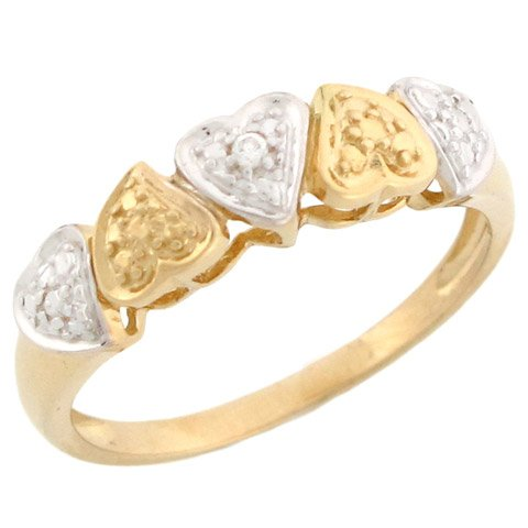 14k Two-tone Gold Beautiful Hearts Promise Ring with Diamonds