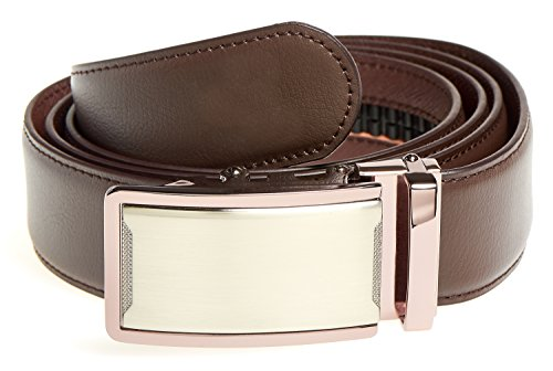 MABUA Leather Belt with Automatic Buckle UP TO Size 50 (Brown)