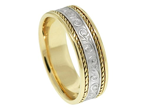Men'S Two Tone 18K Yellow Gold Platinum Floral 7Mm Comfort Fit Wedding Band Size 7.25