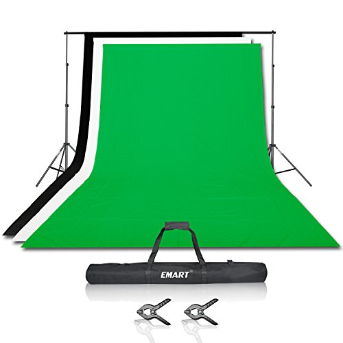 Emart Photography Backdrops Photographic Support Backdrop Stand Kit with 3 Colors Muslin Backdrop 100% Cotton(black White Green),Two clamps for free (Photography Backdrop Starter Kit compare prices)