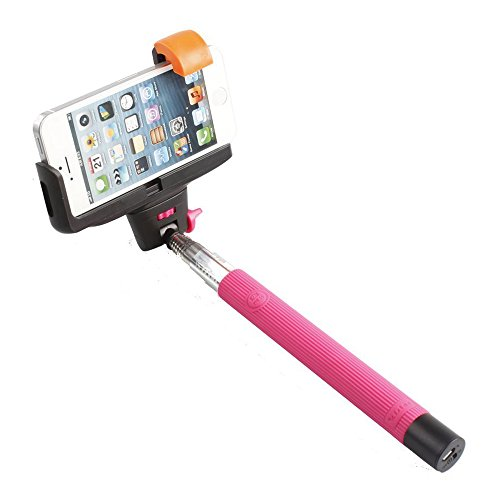Powerfly Extendable Handheld Wireless Self-Timer Monopod Action Camera Telescopic Handheld Selfie Stick Monopod/Extender Adjustable Phone Holder Stand For Iphone 5/5S/5C/6 Samsung Blackberry Android Smartphones - Pink