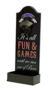 Boston Warehouse Top Poppers Wall Mounted Bottle Opener, Fun and Games Theme by Boston Warehouse