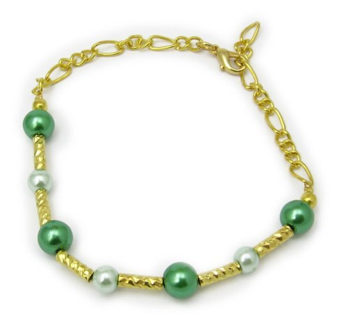 AM5960- Unique gold plated bracelet by Dragonheart – 20cm – Green Glass Pearls