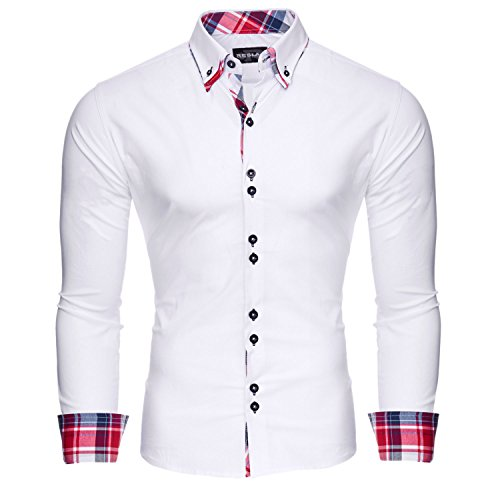 Reslad Herren Hemd Button-Down Slim Fit Kontrast Langarmhemd RS-7015 Weiß M