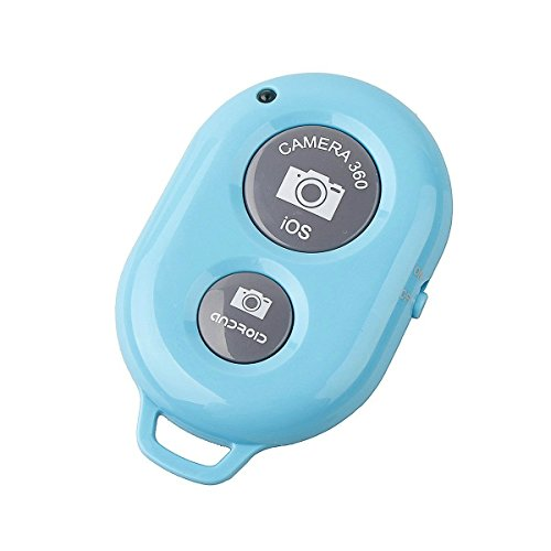 Wireless Bluetooth Remote Control Camera Photo Shutter for iPhone 6 5s , iPad, Android Cell Phone (Light Blue)