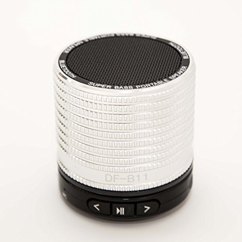 Super Bass Portable Bluetooth Speaker For Iphone / Galaxy Silver Aluminum