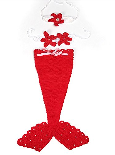 Cute Red Color Mermaid Baby Costume Photo Photography Prop Crochet Knitted Baby Hats - 1
