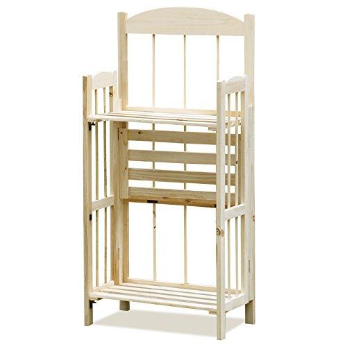 Popamazing 3 tiers Folding Wooden Display Corner Bookshelves Bookcase Storage Shelving Unit Shelves Storage Unit Natural (Natural, 3 Tiers)