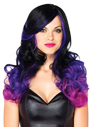 Leg Avenue Costumes Allure Multi Color Long Wavy Wig with Adjustable Elastic Strap, Black/Purple, One Size