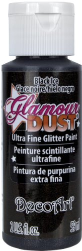 DecoArt Glamour Dust Glitter Liquid Paint, 2-Ounce, Black Ice