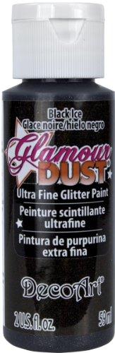 DecoArt Glamour Dust Glitter Liquid Paint, 2-Ounce, Black Ice