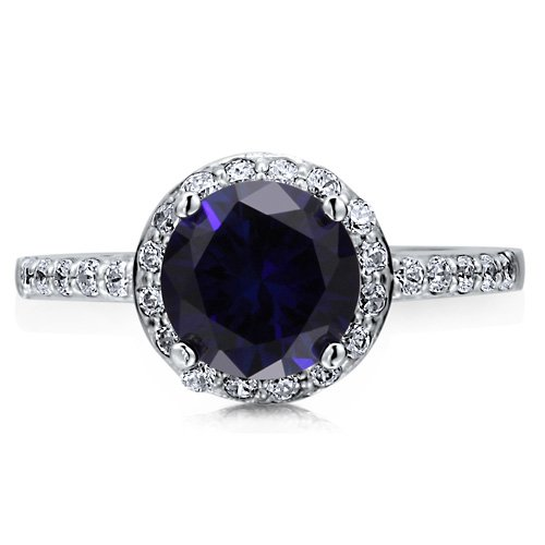 Sterling Silver 925 Round Sapphire Cubic Zirconia CZ Halo Ring Band - Nickel Free Engagement Wedding Ring Size 4